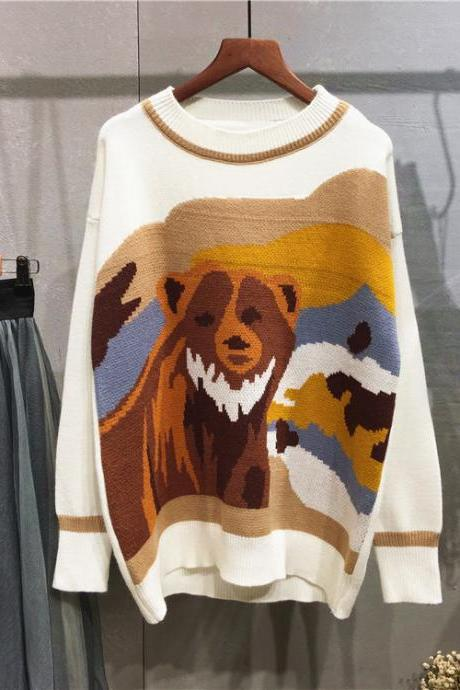 Women Bear Cartoon Loose Round Neck Sweater Fashion Animal Sweater