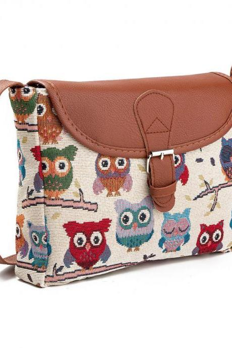 Fashion Owl Embroidery Cotton Shoulder Bag Cute Cartoon Travel Bag Messenger Bag