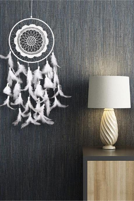 White Lace Dream Catcher Creative Home Wall Decoration Pendant Fashion Feather Gift