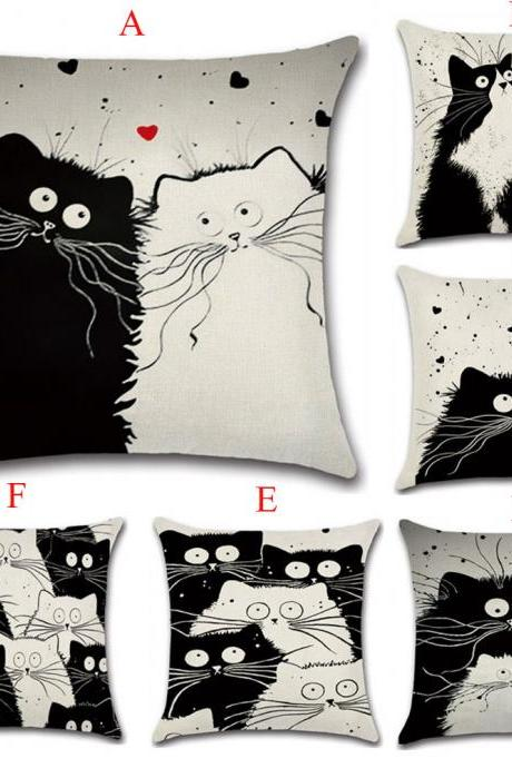 Cartoon Cat Pillow Cover Cute Home Cushion Cover Creative Personality Flax Cushion Cover
