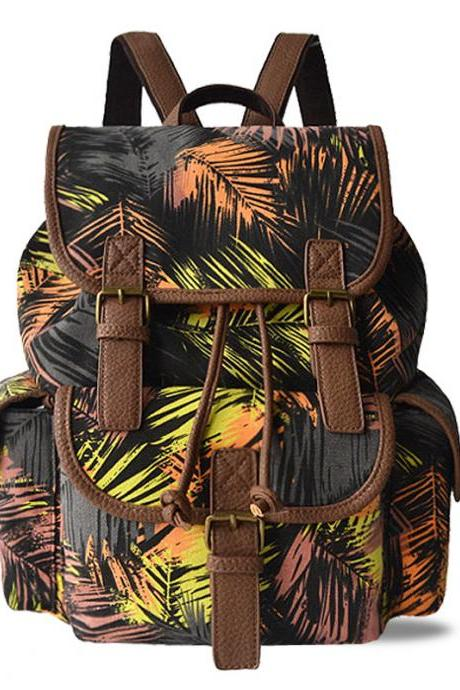 Vintage Printing Canvas Backpack Personality Backpack High Capacity Shoulder Bag School Backpack
