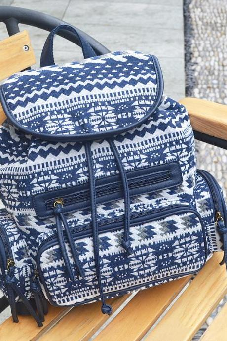 Retro Printing Canvas Backpack Fashion High Capacity Student Backpack
