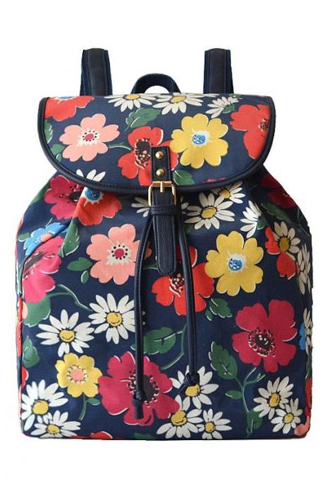 Floral Print Canvas Waterproof Backpack for Students and Travel