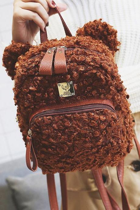 Cute Bear Ears Shoulder Bag Animals Cartoon Student Backpack Fashion Women Handbag