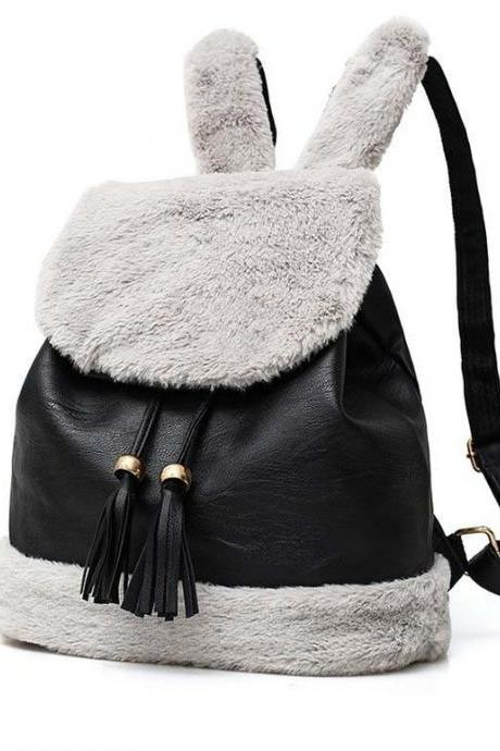 Cute Plush Rabbit Ear Flap Backpack with Tassels