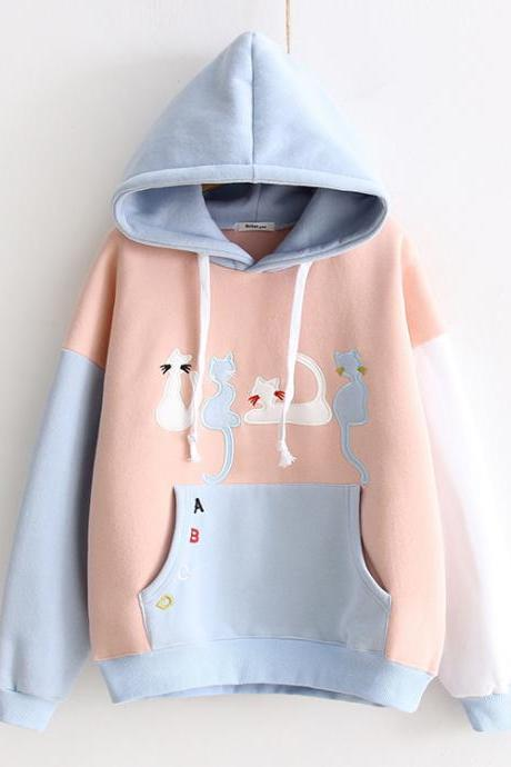 Women Cute Cat Embroidery Hit Color Plus Velvet Hooded Sweatshirt