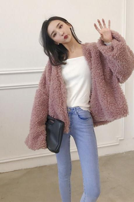 Women Fashion Plush Coat Loose Vintage Cardigan Jacket Coat