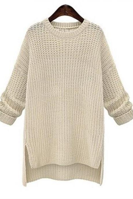Knit Crew Neck Long Cuffed Sleeves High Low Hem Sweater