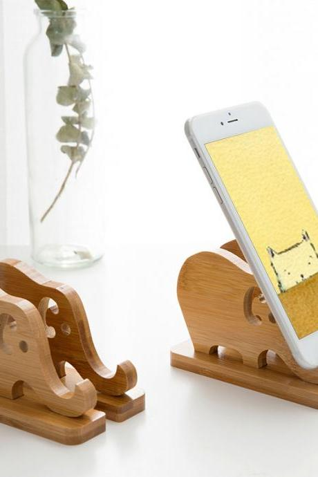 Cute Elephant Wooden Phone Bracket Fashion Elephant Ornaments Creative Cartoon Phone Ipad Holder