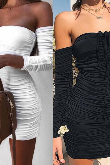 Women Fashion Strapless Fold Bodycon Dress Sexy Tight Long Sleeves Off The Shoulder Party Dress