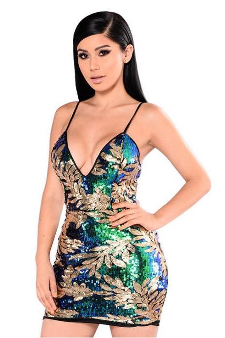Women Fashion Sequins Club Bodycon Dress Sexy V-neck Party Dress
