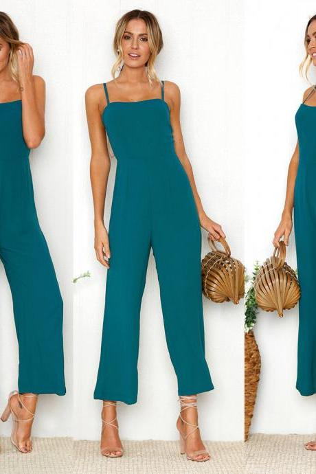 Women Fashion Strapless Rompers Sexy Blue Wide Leg Pants Jumpsuit