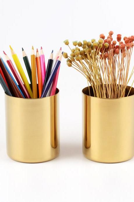 Fashion Gold Metal Brush Pot Metal Vase Home Decoration Storage Box