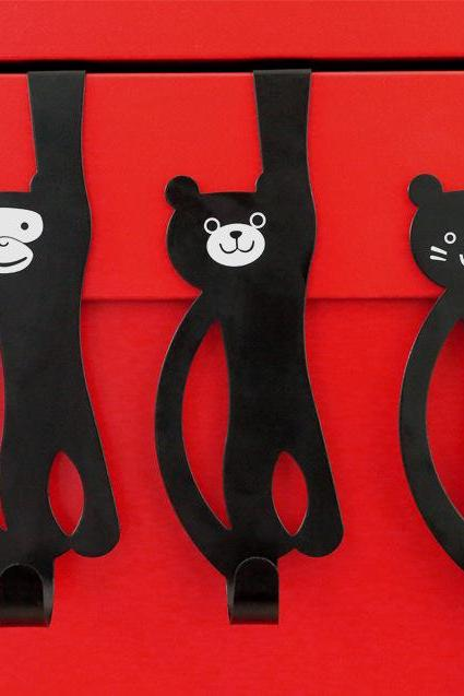 Creative Cartoon Cat Bear Metal Hooks Home Wall Hanging Animal Wall Decoration Cute Coat Seamless Iron 3 Hooks