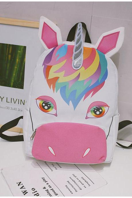 Fashion Unicorn Canvas Backpack Cartoon Animal Student Bag High Capacity Personality School Backpack