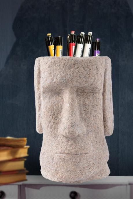 Creative Easter Island Statues Pen Holder Crafts Ornaments Office Home Decorations