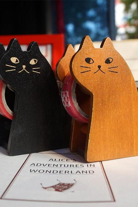Retro Miranda Cat Tape Cutter Cute Wooden Ornaments Office Tools Student Tape Cutter