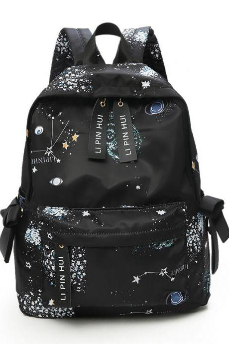 Personality Star Graffiti Backpack Cartoon Travel Backpack Fashion High Capacity Waterproof School Backpack