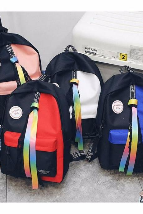 Personality Hit Color Harajuku Backpack Ribbons Lace Travel Backpack Fashion High Capacity School Backpack