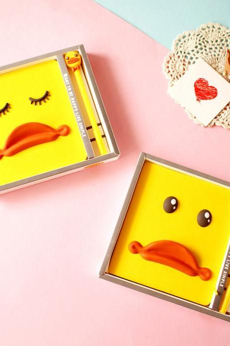 Cute B.Duck 3D Notebook Pen Yellow Duck Cartoon Pocketbook Fashion Student Journal Memo Notepad