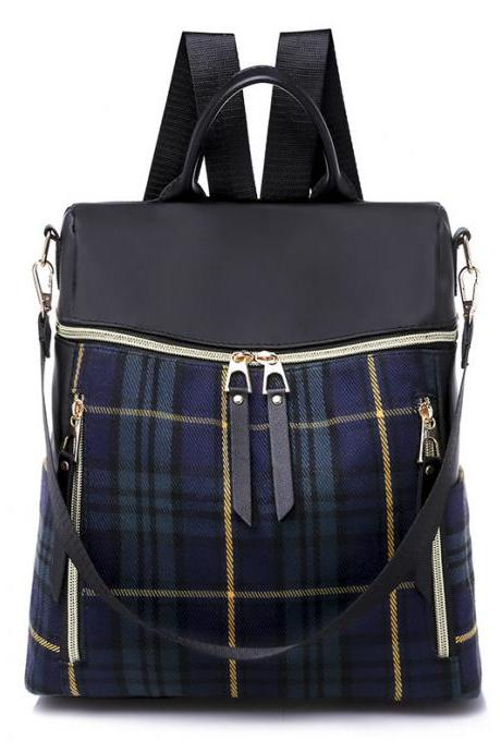 Plaid Nylon Student Backpack and Shoulder Bag