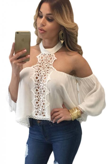 Women White Chocker Neck Bare Shoulders Flare Crop Top Blouse