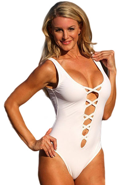 e1b9406beac3f Women White Sexy Plunge Crisscross Teddy Bikini with Scoop Back