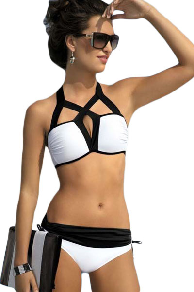 Women White and Black Cutout Design Two Piece Swimwear