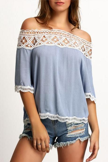 Women Sexy Off Shoulder Strapless Lace Chiffon Blouse