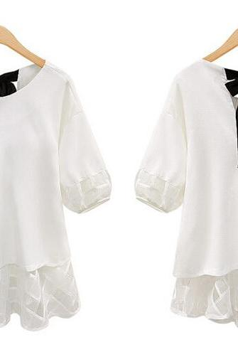 Women Loose Blouse Plus Size Chiffon Shirt Lace Stitching T-shirt