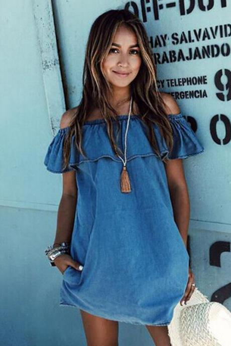 Fashion Strapless Loose Denim Dress