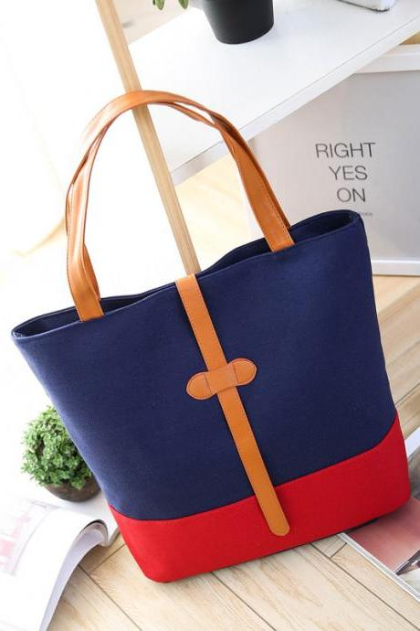 Women Simple Canvas Bag Shoulder Big Bag Student Bag
