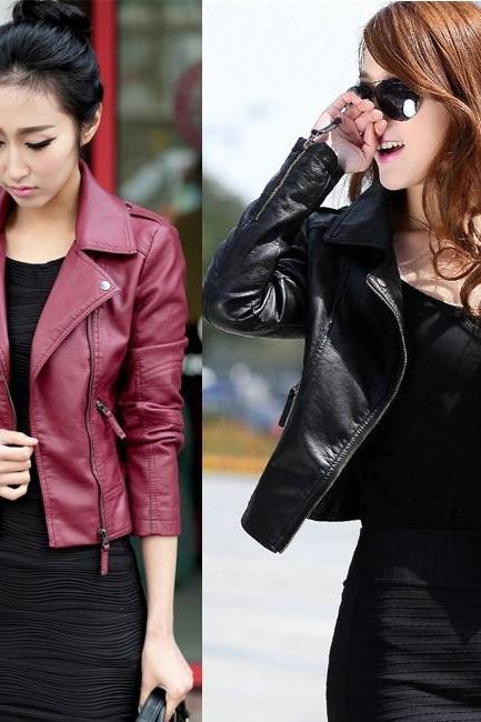 Women PU Leather Jacket Fashion Plus Size Jackets