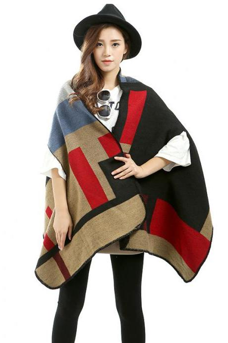 Women Winter Scarf Shawl Wool Plaid Thicken Air Conditioning Warm Cloak