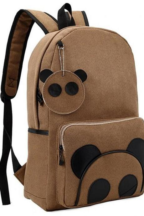 Fashion Panda Pattern Suede Backpack Students Backpack Casual Schoolbag Book Bag