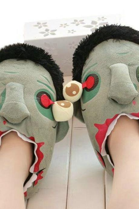 Unisex Soft Plush Zombie Slippers Warm Indoor Footwear Lovers Couple Shoes Halloween Christmas Gift