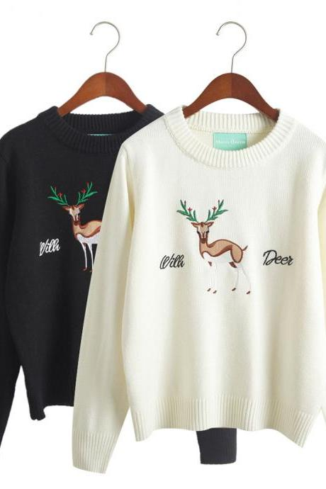 Women Embroidery Christmas Deer Elk Lovely Sweater