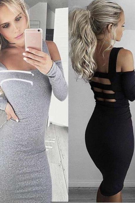 Women Sexy Sling Backless Long Sleeved Slim Bandage Party Dress 1f81bb95c
