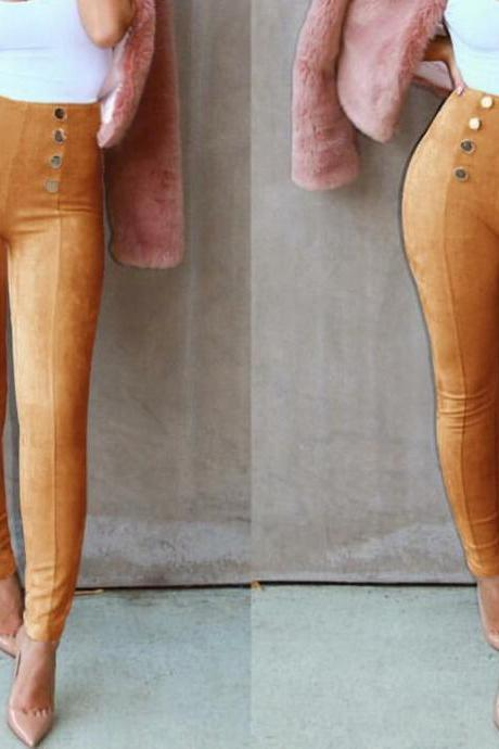 Women Button Deer Leather Leggings Casual Pants