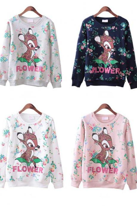 Women Fashion Deer Flower Sweater Round Neck Loose Sweatshirt