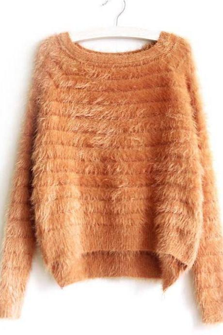 Women Cute Hairy Mohair Loose Sweater