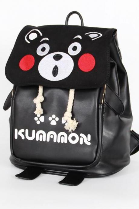 Kumamon Backpack Animation PU Student Bag Canvas Cartoon School Bag