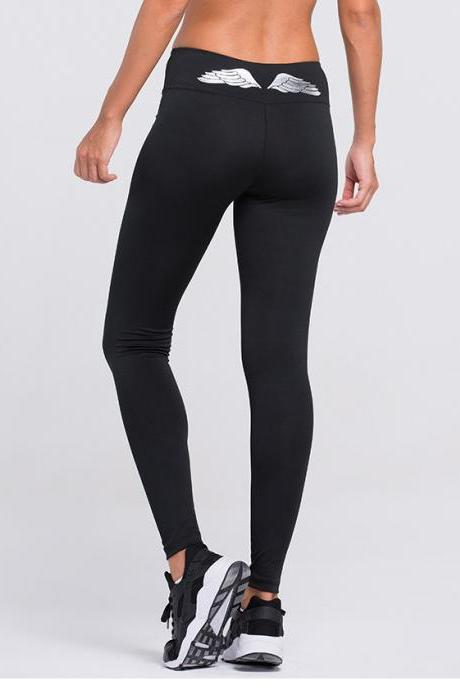 Women Gold Wings Quick-drying Tight Sports Running Pants Yoga Pants