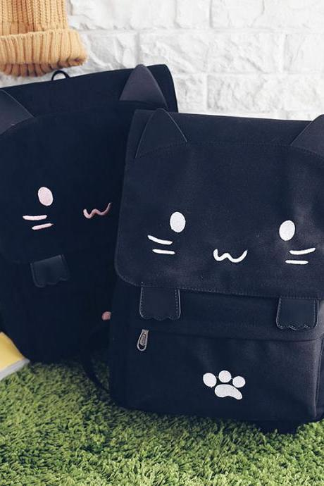 Cute Cat Canvas Backpack High Capacity Student Bag Cartoon School Bag