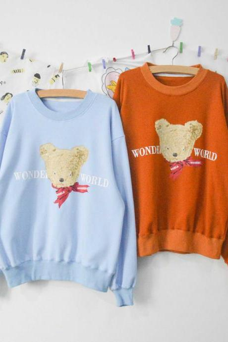 Lovely Vintage Bear Printing Loose Round Neck Sweatshirts