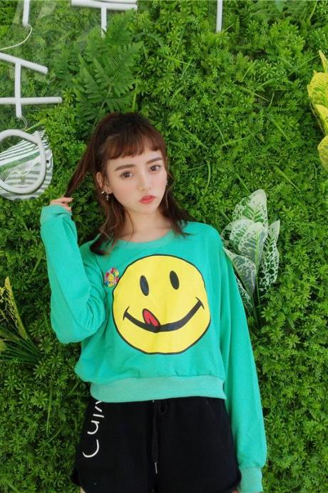 Lovely Vintage Smile Printing Loose Round Neck Sweatshirts