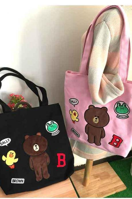Cute Brown Bear Cartoon Embroidery Canvas High Capacity Shoulder Bags