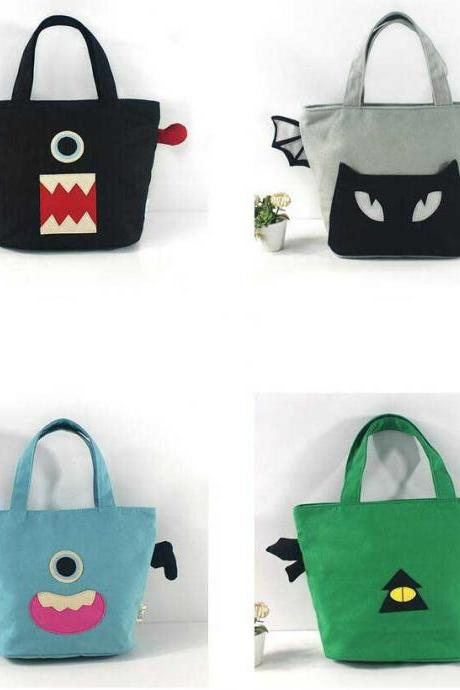 Creative Fashion Cartoon Canvas Handbag Little Monsters Lunch Bag