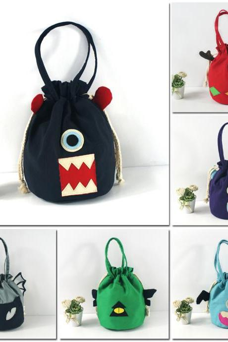 Creative Personality Cartoon Little Monster Bucket Bag Canvas Handbag Phone Bag