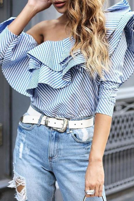 Sexy Strapless Striped Long-Sleeved Shirt Flounce Shirt Blouse